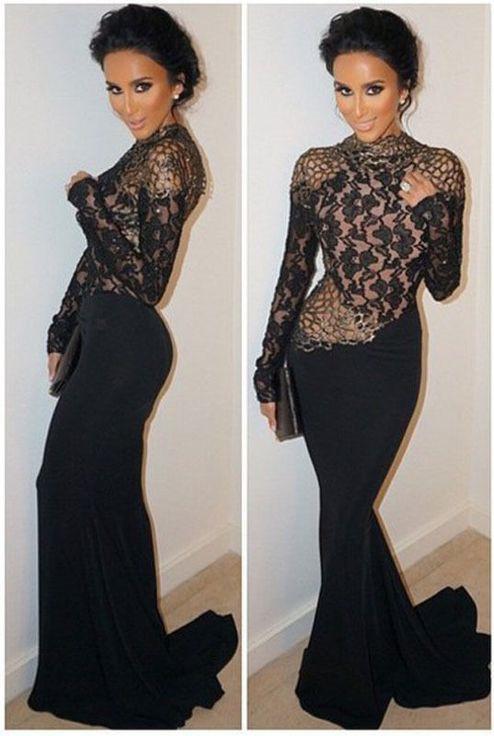 Modest High Neck Long Sleeve Black Mermaid Backless Prom Dress BA9237