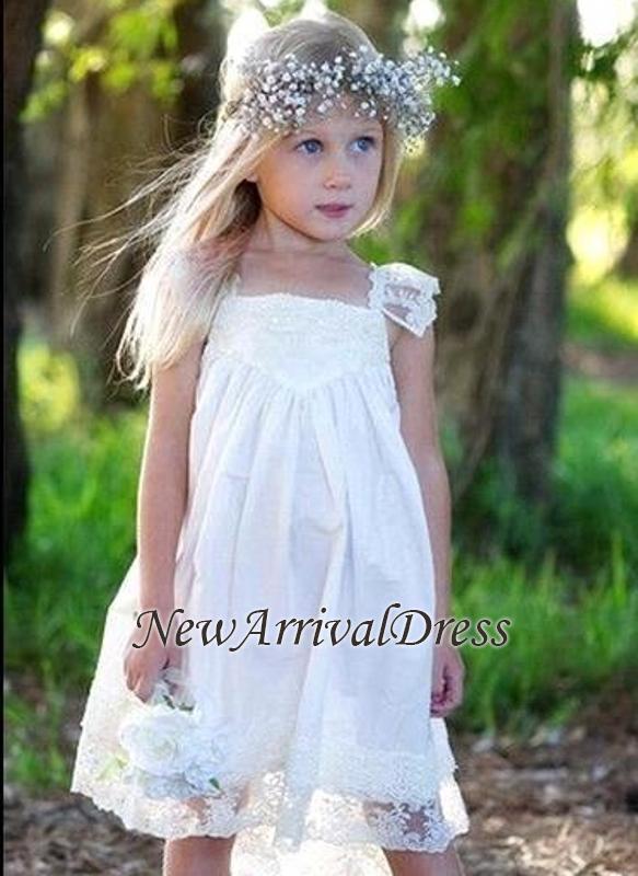 Flower Cute Crisscross Capped-Sleeves Back Girls Dresses