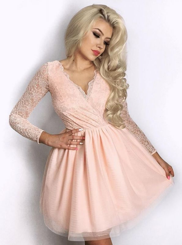 Newest Long Sleeve A-line V-neck Lace Short Homecoming Dress