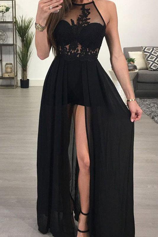 Sexy Halter A-Line Prom Dresses | Black Front Split Evening Dresses