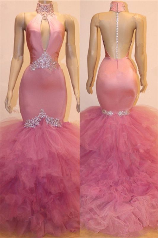Keyhole Tulle Mermaid Long Prom Dresses Cheap for Formal | Sleeveless Beads Crystals Long Prom Dresses Cheap BC1555