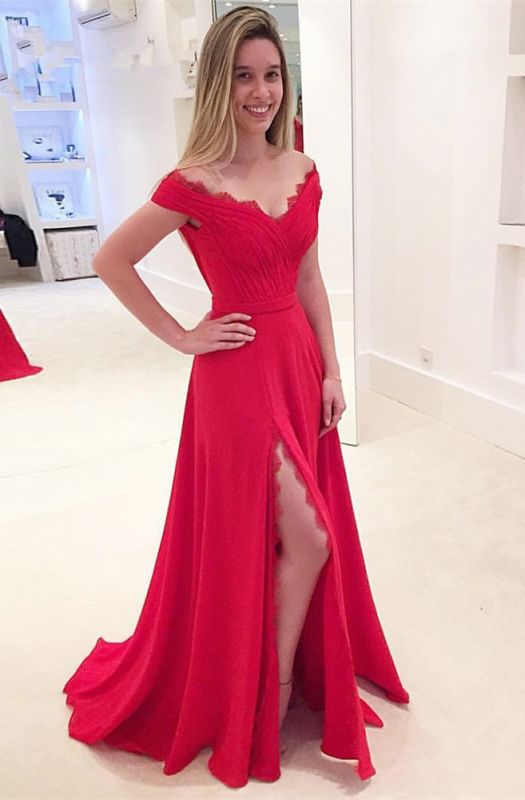 3638cc0b9f Modest Off the shoulder Front Split Lace Long Prom Dress .