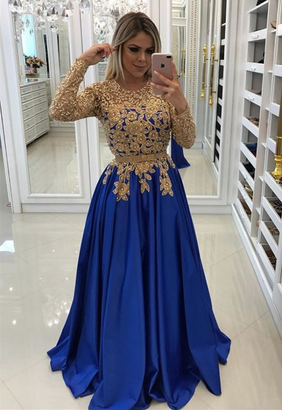 Modern Royal Blue & Gold Lace Formal Dress | Long Sleeve Party Gowns