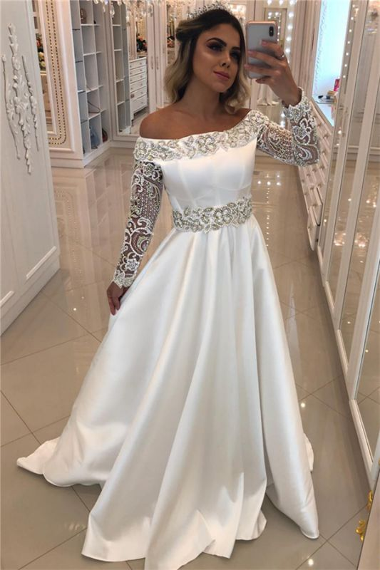Satin Long Sleeve Wedding Dresses Cheap Online | Off The Shoulder Sexy Beading Appliques Bridal Gowns