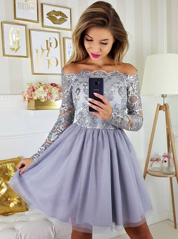 Modest Off-the-shoulder Long Sleeve Lace Appliques Short Homecoming Dress BA9972