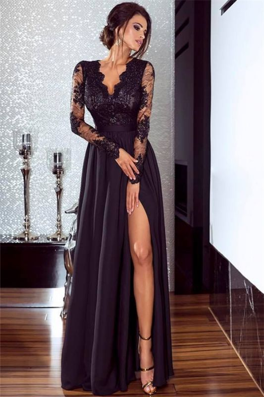 Sexy Slit Long Sleeve Formal Dress Online | Cheap Black Lace V-neck Prom Dresses FB0191