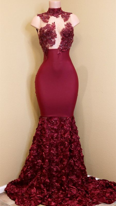 Modest High Neck Lace Flowers Prom Dresses Cheap | Burgundy Prom Dresses Cheap