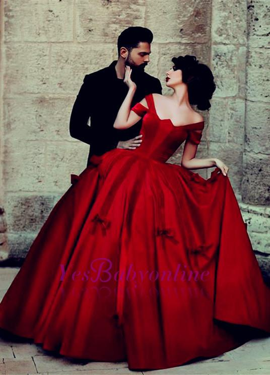 Off-the-Shoulder Red Long Satin Ball-Gown Gorgeous Evening Dresses