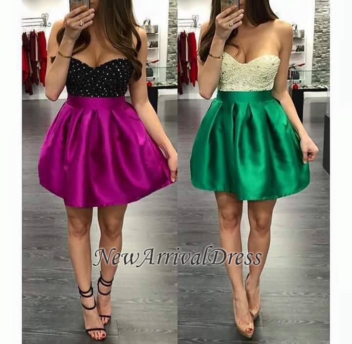 Short Mini Sweetheart-Neck Top Beaded Sexy Homecoming Dresses