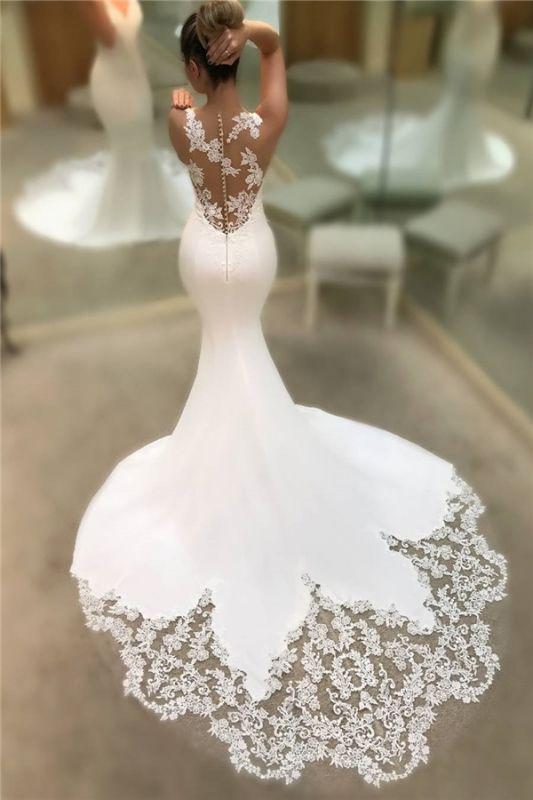 Robes De Mariée En Dentelle De Satin Sirene Pas Cher 2021 | Robes de mariée sans manches à col en V et dos transparent BC0578
