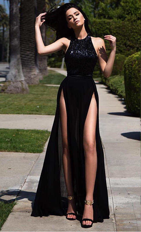 High Neck Front Slit Chiffon Formal Dress | Lace Long Prom DressCheap Online