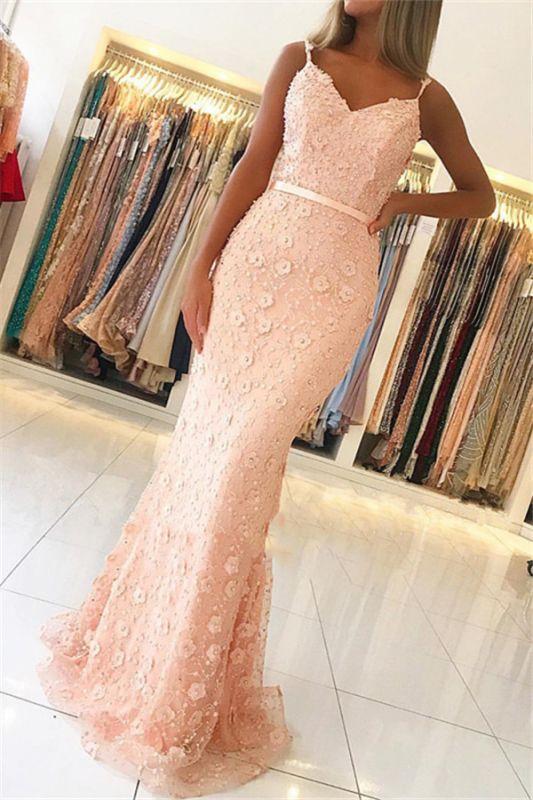 Elegant Pink Sheath Long Prom Dress | Spaghetti Straps Flowers Sleeveless Evening Dress