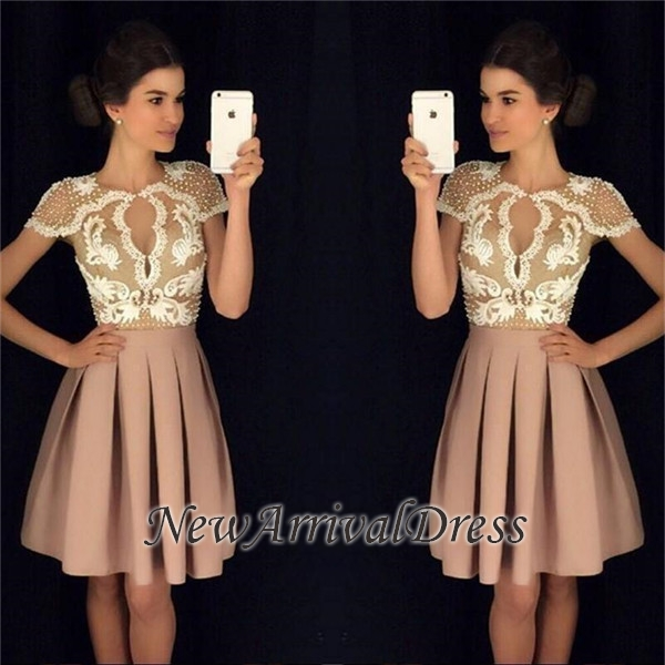 A-Line Beadings Short-Sleeves Newest Short Appliques Homecoming Dresses