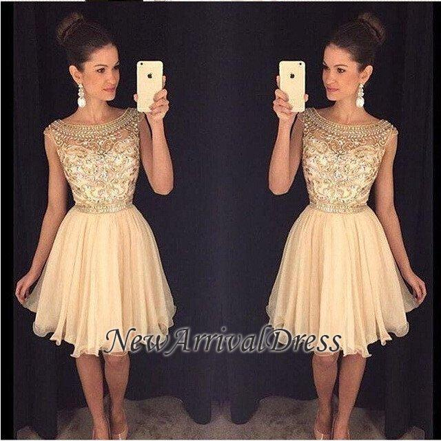 b5c374be75 Bateau-Neck Capped-Sleeves Short Gold Beaded Luxury Homecoming Dresses AP0   Item Code  D153432549782894