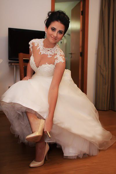 Lace Wedding Dresses Cheap Online High Neck  Sweetheart Applique Floor Length A-line Bridal Gowns