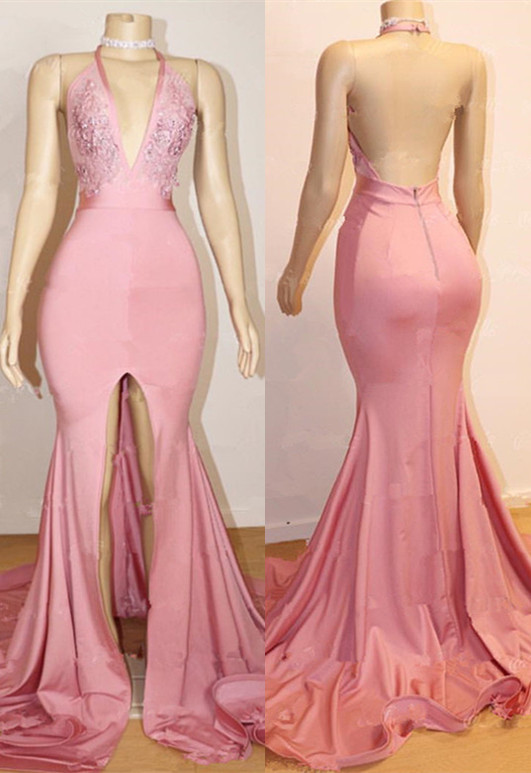 Open Back Pink Junior Long Prom Dresses Cheap | Halter Lace Evening Gown With Slit BA9087