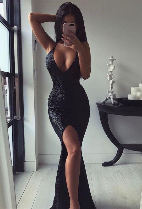 Sexy Black V-Neck Long Formal Dresses | Sequins Mermaid Split Prom Dress Long
