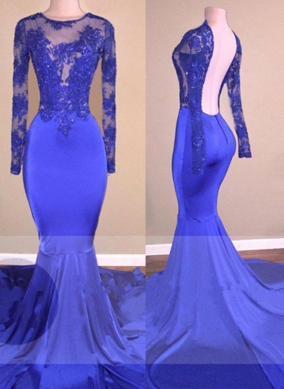 Long-Sleeves Royal-Blue Sexy Backless Beaded Mermaid Prom Dresses | Royal Blue Dress