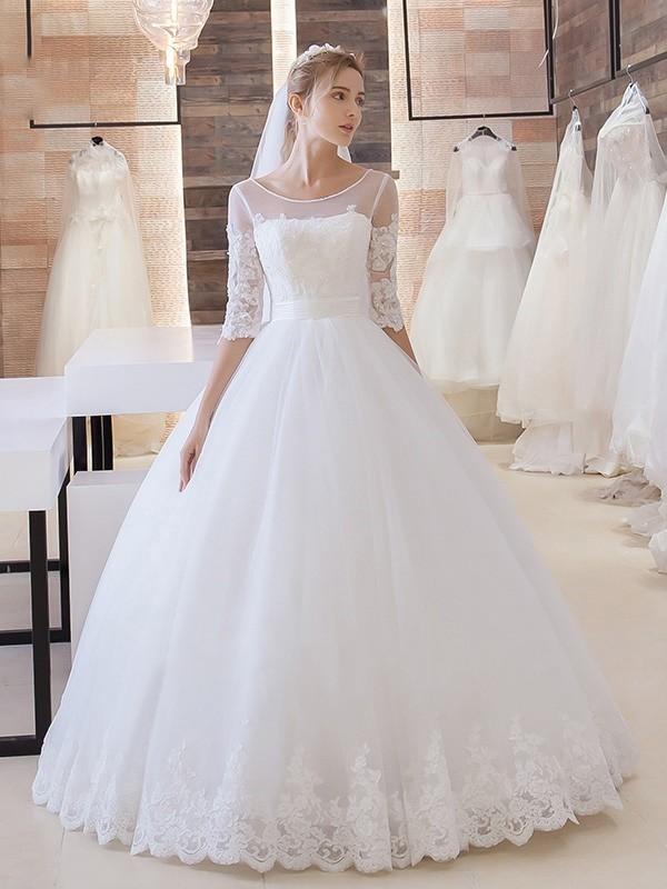 New Arrival Lace Princess Half Sleeve Stunning New Arrival Lace-Up Floor Length Elegant Wedding Dresses