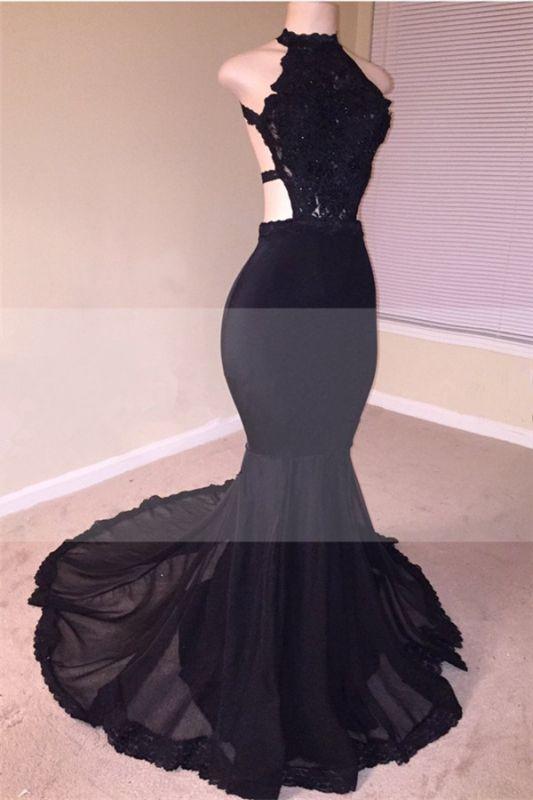 Open Back Black Mermaid Junior Long Prom Dresses Cheap | Sleeveless Formal Evening Dresses Online