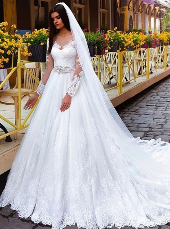 New Arrival Lace Princess Crystal Long Sleeve Elegant Wedding Dresses