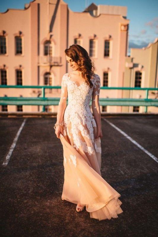 Long Sleeve White Lace Champagne Evening Dress Floor Length Destination Wedding Dress BA6642