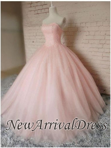 Prom Sleeveless Dresses Pink Ball Chic Tulle Sweetheart Gown Princess Dresses