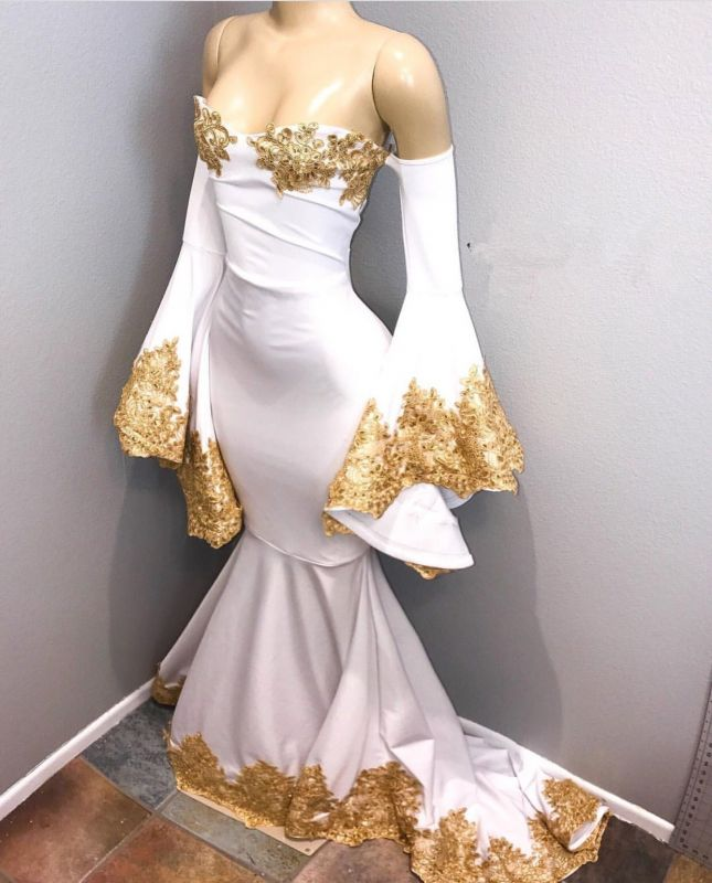 ddf5a2a5999 Off-the-shoulder Long Sleeve Mermaid Gold Lace Prom Dress BA8276 ...