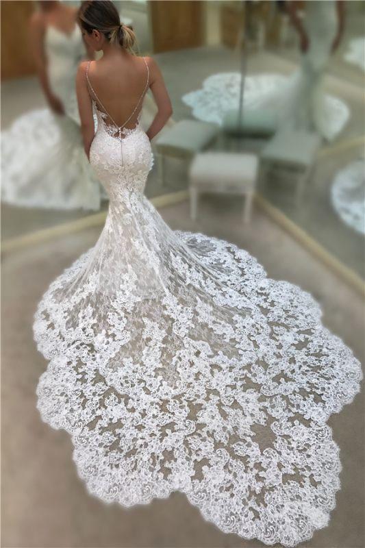 Robes de mariée sexy en dentelle de sirène avec dos ouvert | Robes de mariée avec bretelles spaghetti 2020 avec train de la chapelle