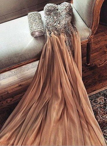 Champagne Chiffon Crystals Long Prom Dresses Cheap Spaghettis Straps Sweetheart Side Slit Evening Gowns