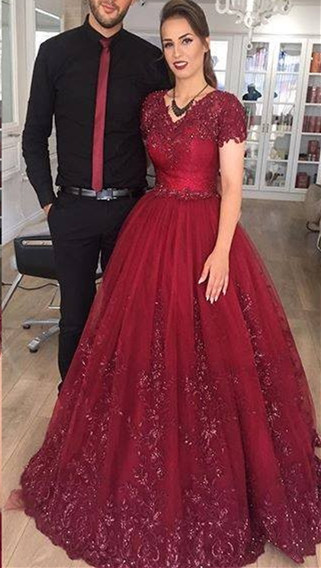 Delicate Burgundy Short Sleeve Lace Appliques A-line Evening Gown