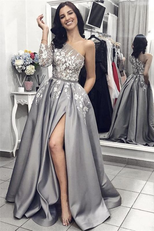 One Sleeve Silver Grey Prom Dresses Cheap Online | Side Slit Lace Appliques Sexy Formal Evening Dress
