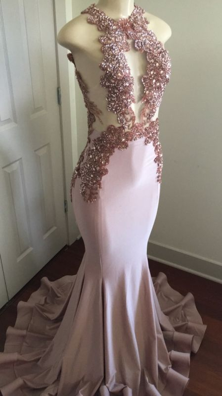 8074da1566c64 Modern Lace Appliques Sleeveless Prom Dress