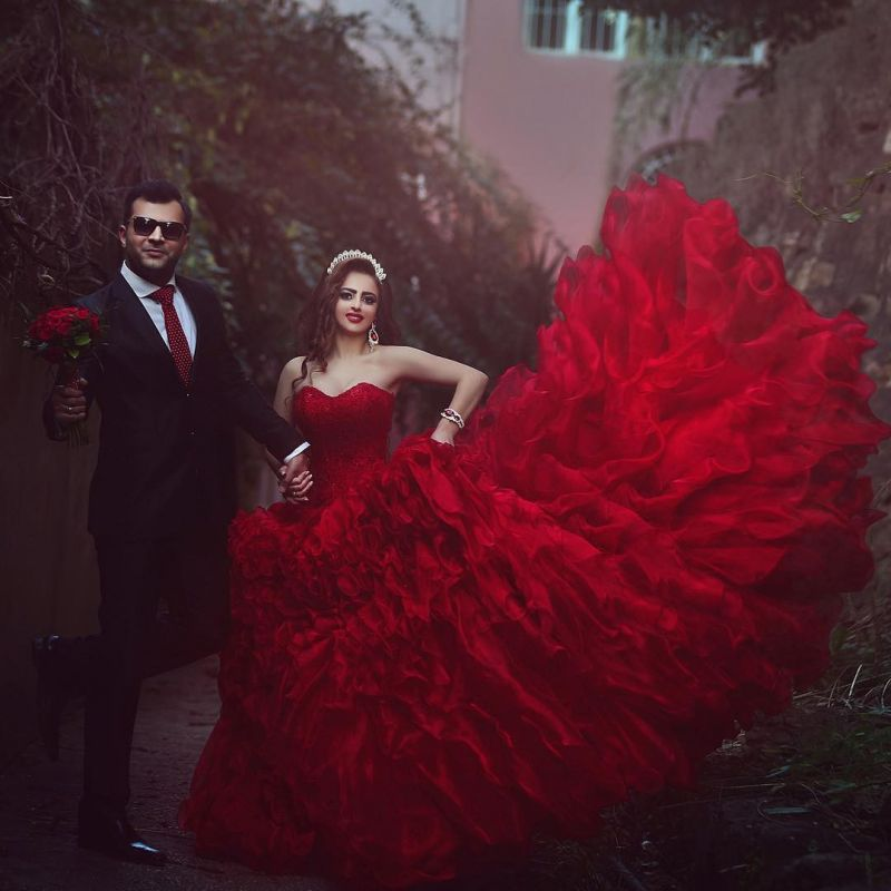 Sexy red Sweetheart Organza Prom DressesAppliques Ball Gown TD023