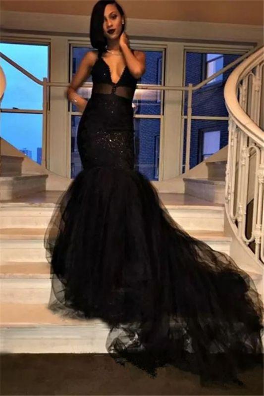 Long V-Neck Mermaid Black Prom Dresses Tulle Sequins Formal Gowns SK0126