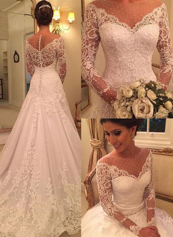 Voir Sexy à travers des robes de mariée en dentelle à manches longues pas cher | Robes de mariée élégantes appliques une ligne 2020