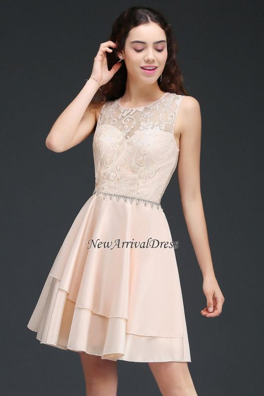 Tiers Elegant Lace Beading A-line Sleeveless Homecoming Dresses