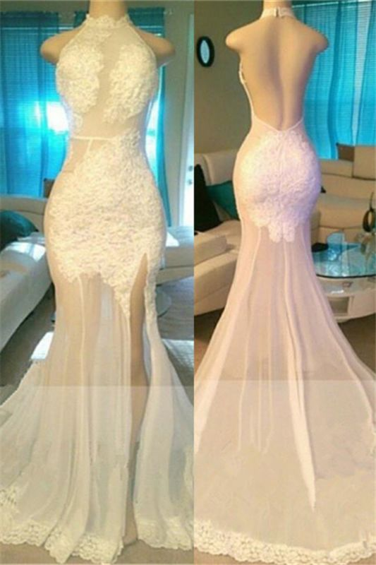 Side Slit Lace Appliques White Prom Dresses Cheap | Open Back Sheer Tulle Evening Gowns bc1933
