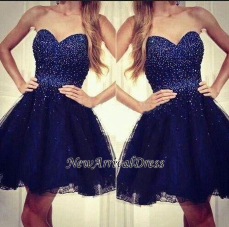 Sweetheart Short Sequins Tulle Strapless Beading Navy-Blue Homecoming Dresses