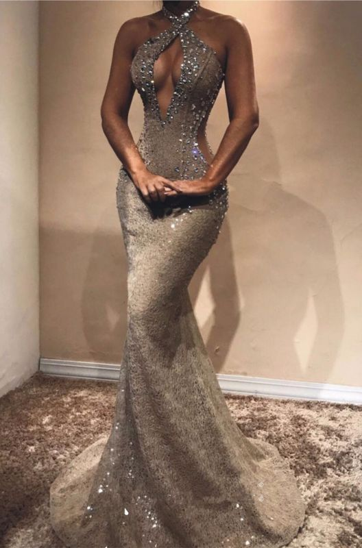 Halter Open Back Long Prom Dresses Cheap | Shiny Beads Crystals Illusion Mermaid Formal Gowns