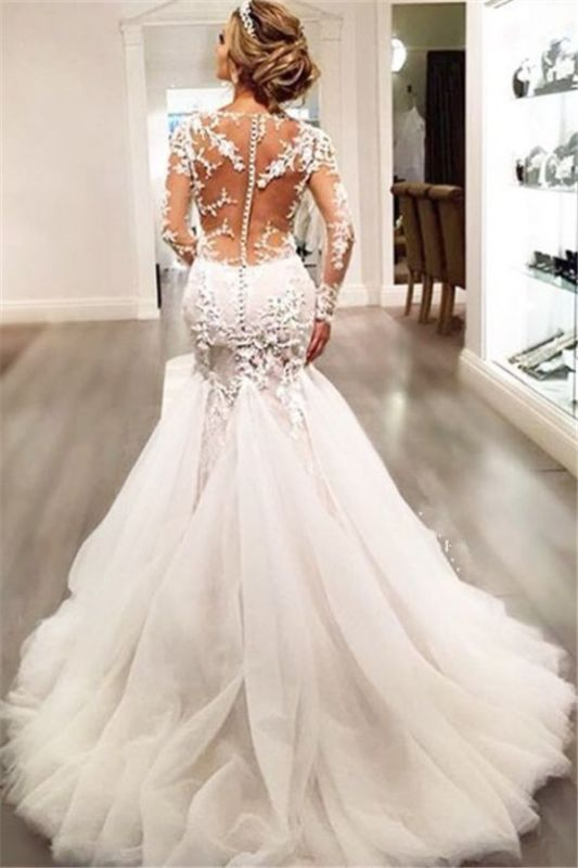 Sexy Mermaid Beading V-Neck See Through Lace Long Sleeve Wedding Dresses Cheap Online