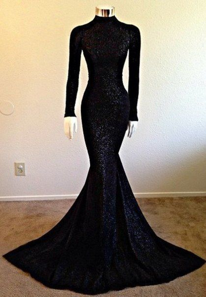 High Neck Long Sleeve Black Long Prom Dresses Cheap | Vintage Lace Mermaid Formal Evening Dress BA5158