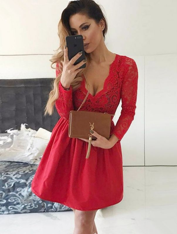 Sexy Red Lace V-neck Long Sleeve Homecoming Dress | Short Party Gown