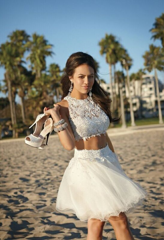 Short Cocktail Dresses White Lace Sleeveless Appliques Tulle Hot Homecoming Dresses
