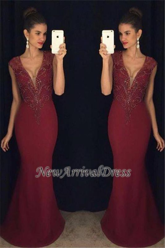 4ede6cc77f Sleeveless Gorgeous Mermaid Burgundy Beadings Prom Dress  Item Code   D153413447369319