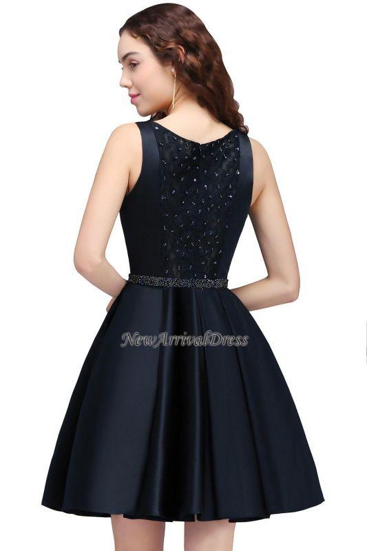 Short A-Line Sequare Beadings Black Sleeveless Homecoming Dresses