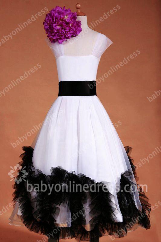 Charming Flower Girls DressesStraps Cap Sleeve Flower Black Sash Floor Length Zipper Girls Pageant Gowns