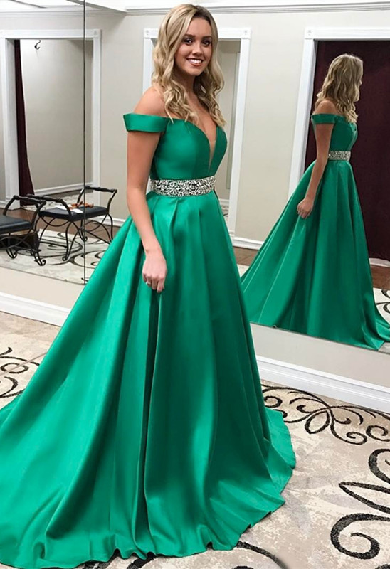 Crystal Off-the-Shoulder Green Gorgeous Prom Dress | Plus Size Prom Dress  BA7223