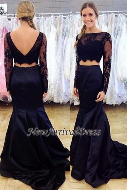 Black Long-Sleeve Bateau Two-Piece Open-Back Mermaid Lace Prom Dress