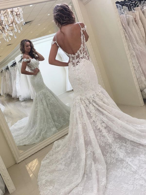 Modern Lace Off-the-shoulder Mermaid White Wedding Dress